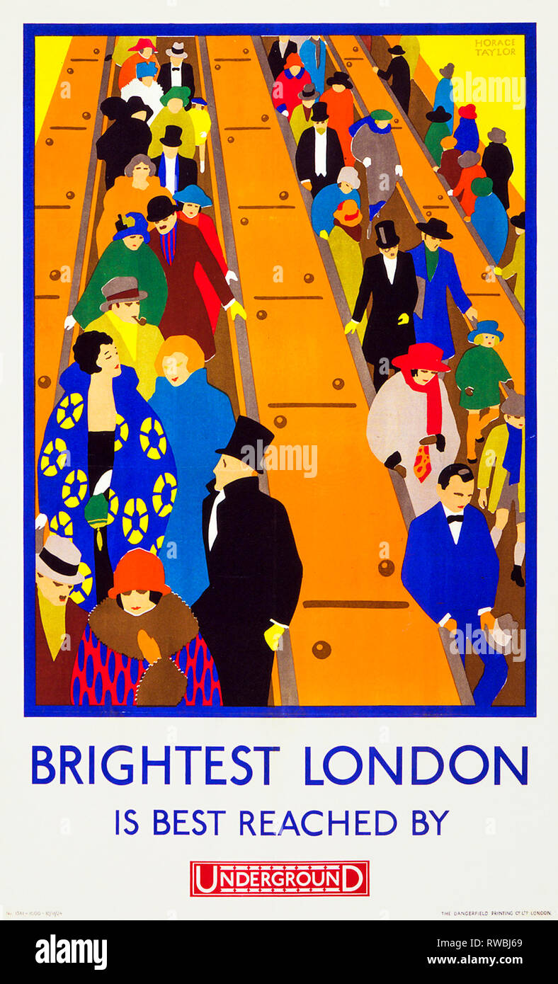 Art Deco London Underground Poster - Brightest London is best reached by Underground, 1924, Horace Taylor - Stock Image