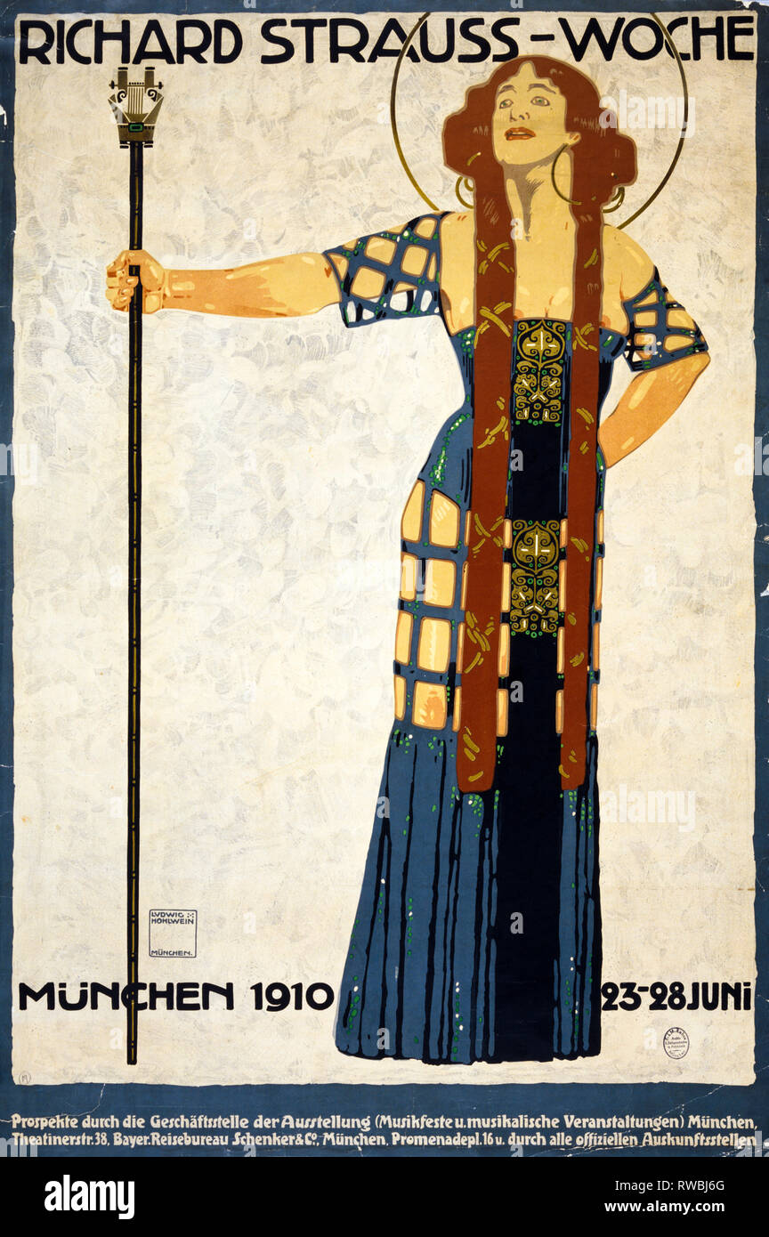 Art Deco poster, Richard Strauss-Woche. Munchen 1910 23-28 Juni,  Ludwig Hohlwein - Stock Image
