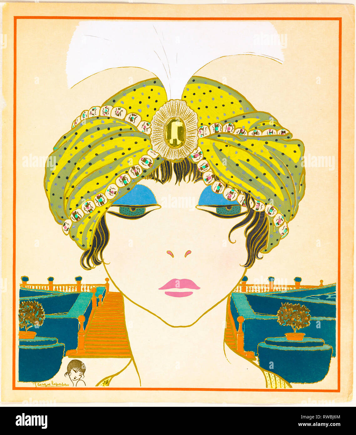 Book Illustration, Items by Paul Poiret as seen by Georges Lepape, Woman in a Turban, art deco, 1911 - Smithsonian, USA - Stock Image