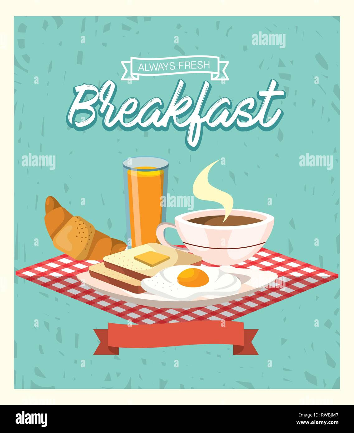 delicious breakfast with fried eggs and orange juice - Stock Image