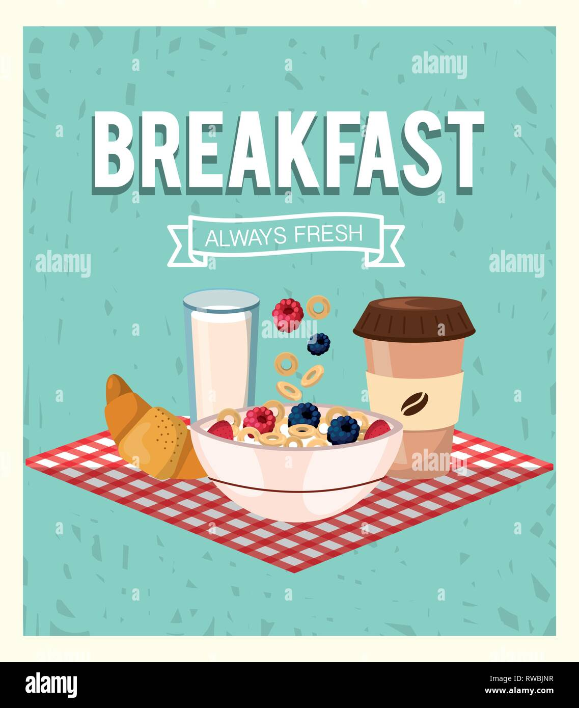 breakfast and cereal with strawberries and blackberries fruits - Stock Image