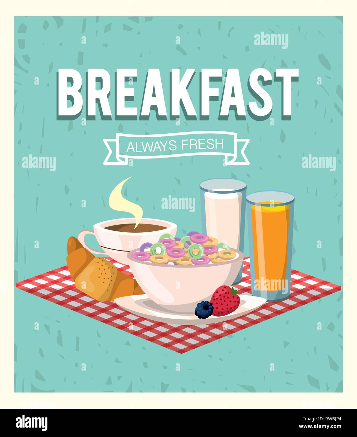 delicious cereal with orange juice and croissant breakfast - Stock Image
