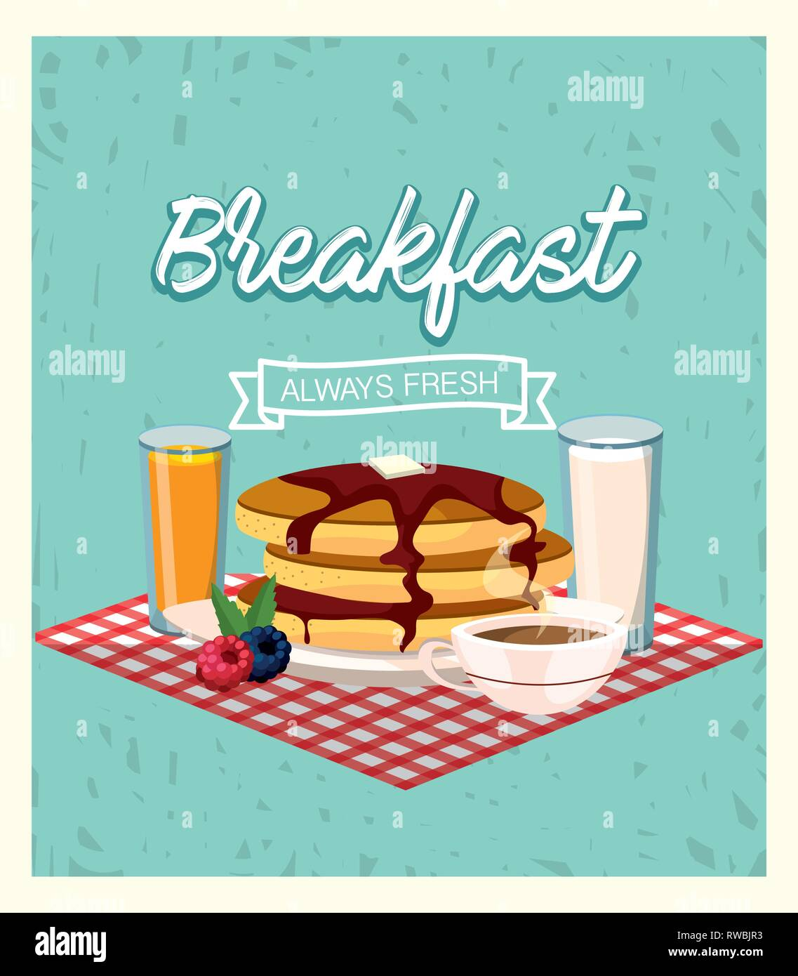 delicious pancakes with orange juice and coffee cup - Stock Image