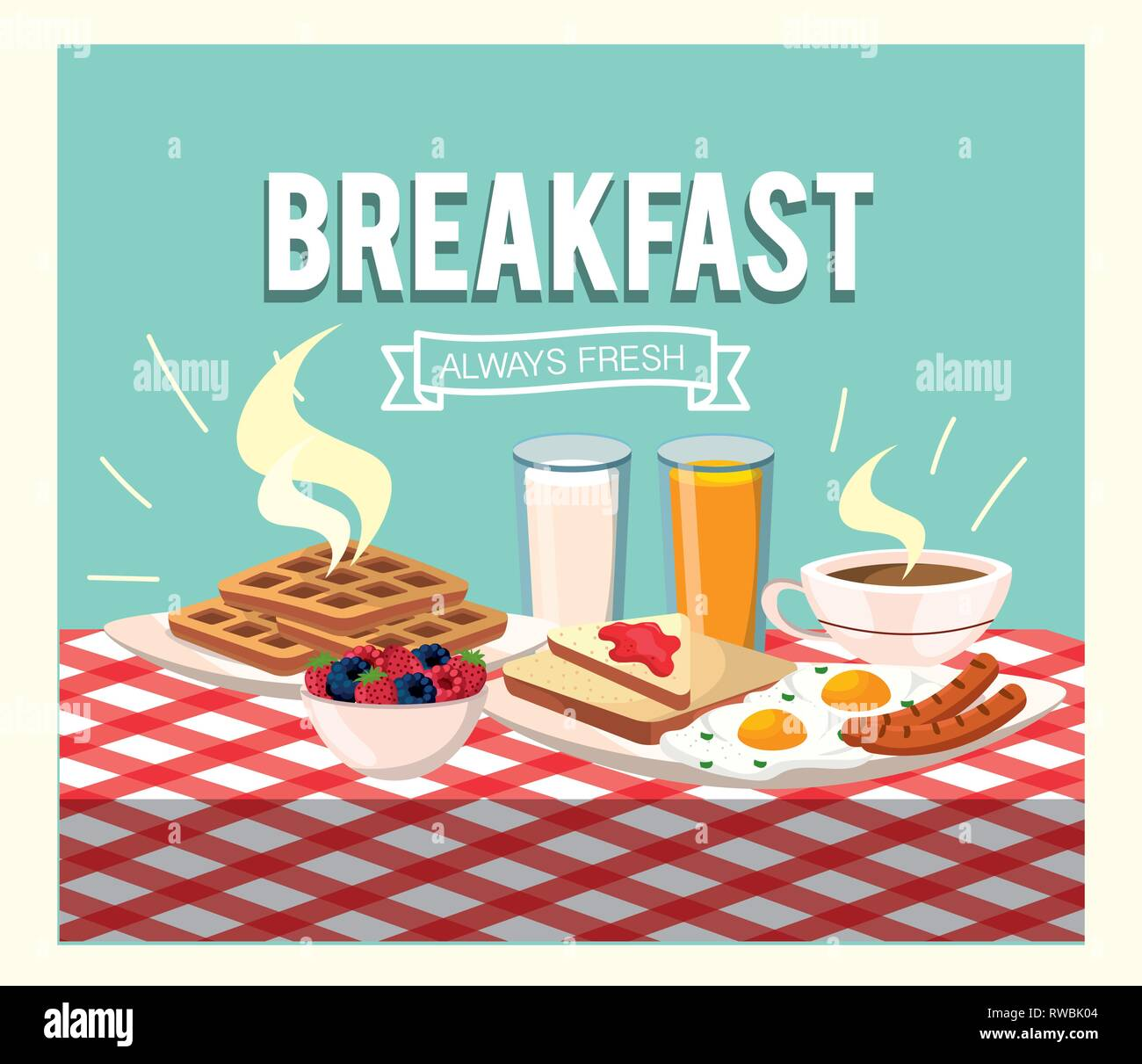 fried eggs with sausages and orange juice - Stock Image