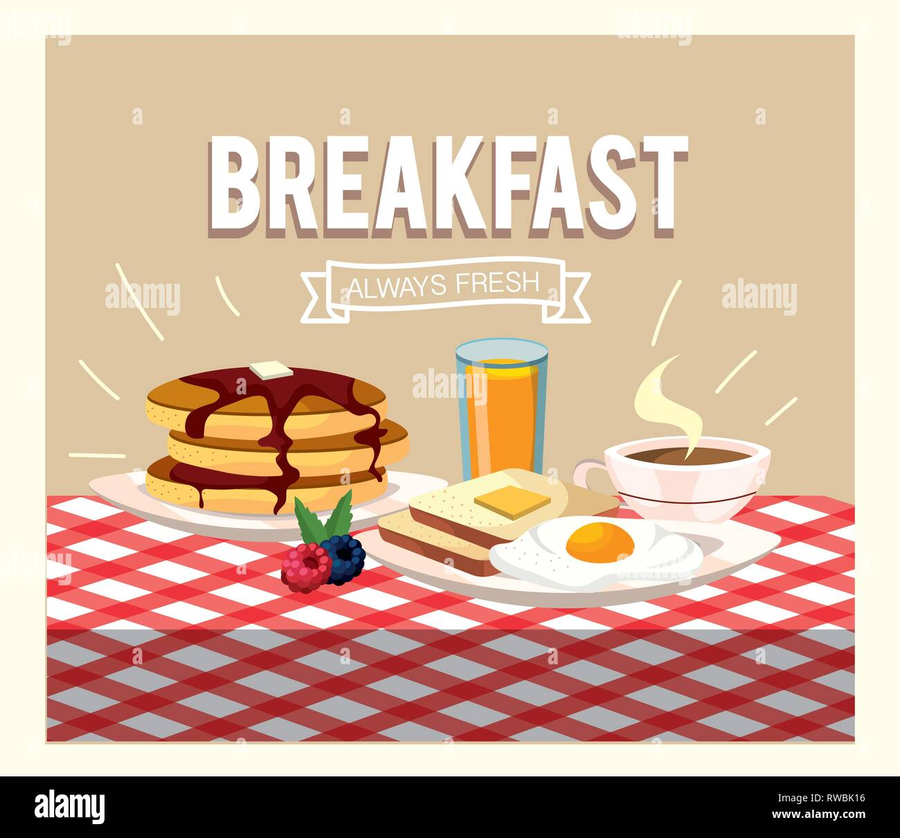 fried eggs with pancakes and orange juice - Stock Image