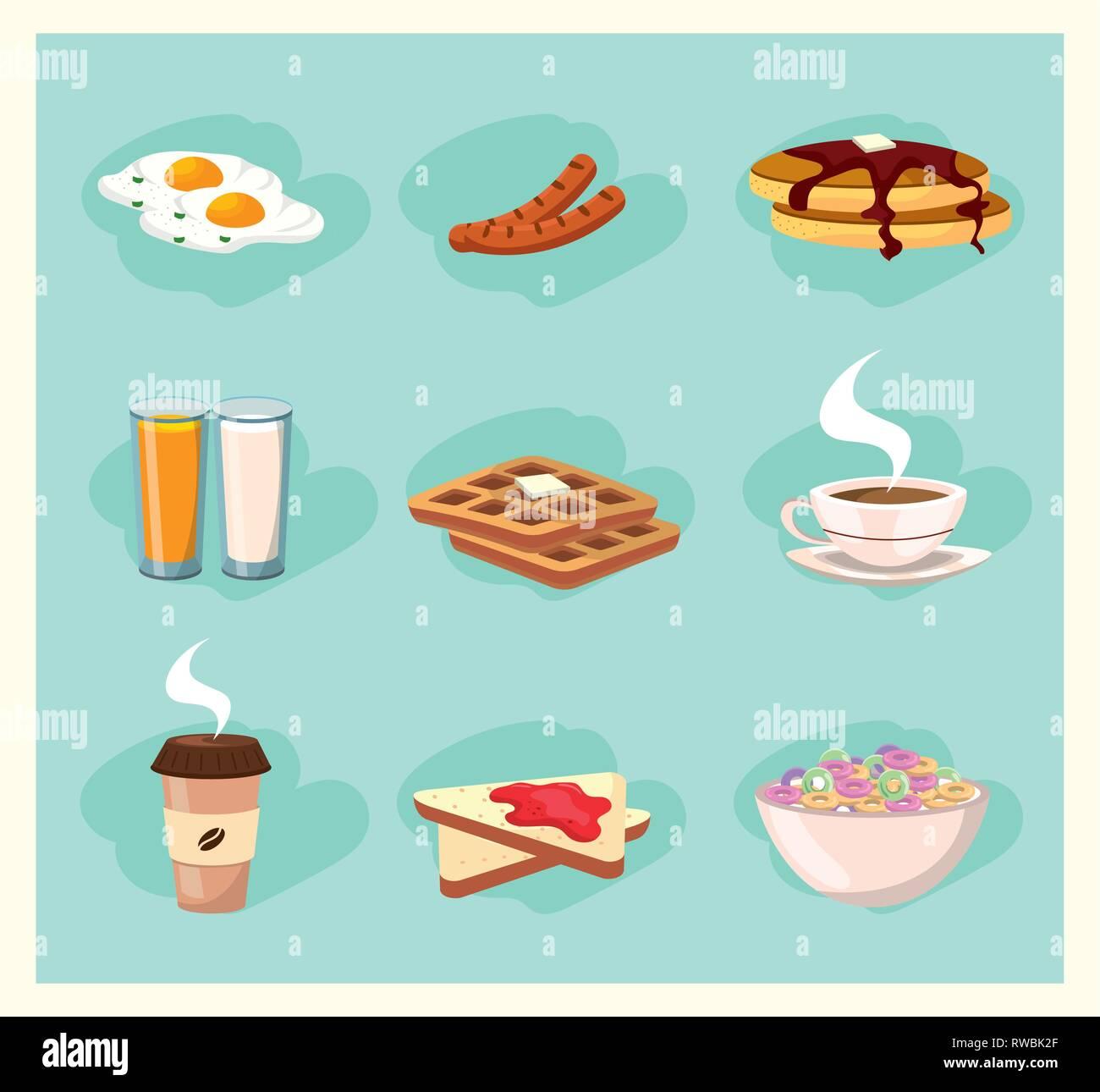 set delicious breakfast nutrition food - Stock Image