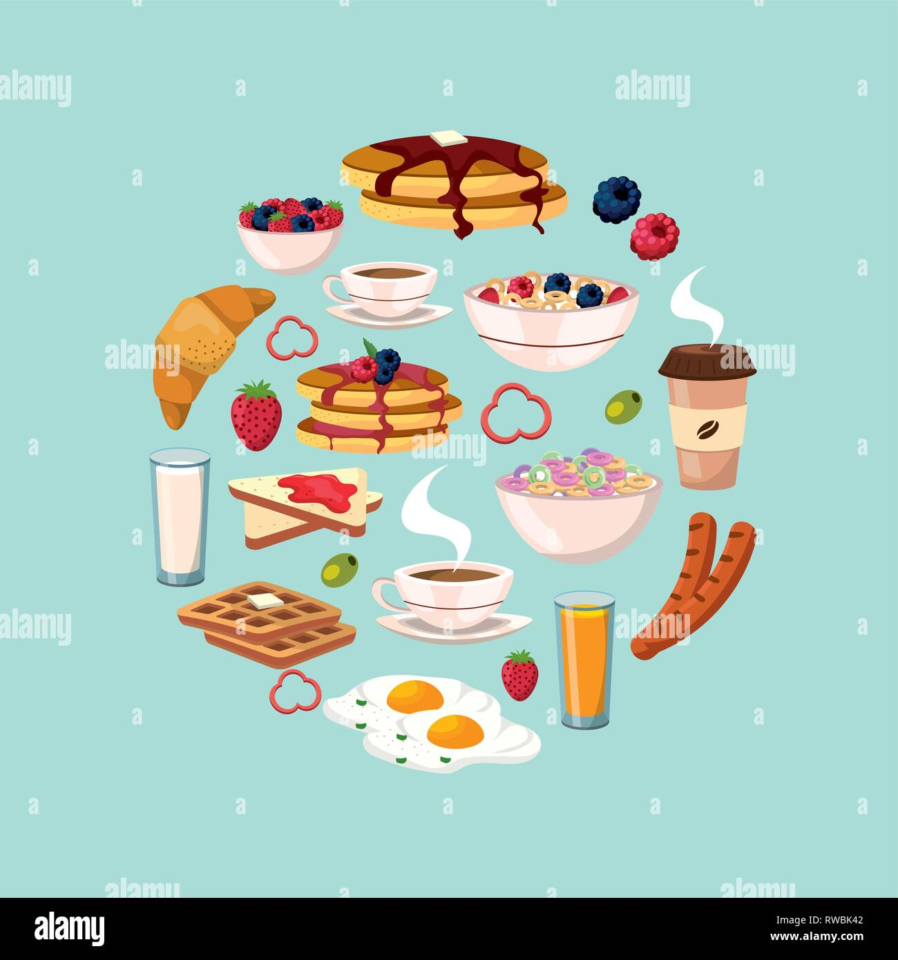 set healthy breakfast with protein food nutrition - Stock Image