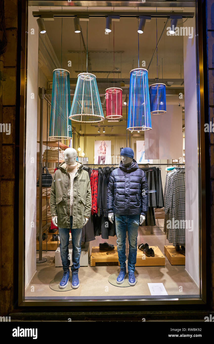 ROME, ITALY - CIRCA NOVEMBER, 2017: apparel on display at United Colors of Benetton store in Rome. - Stock Image