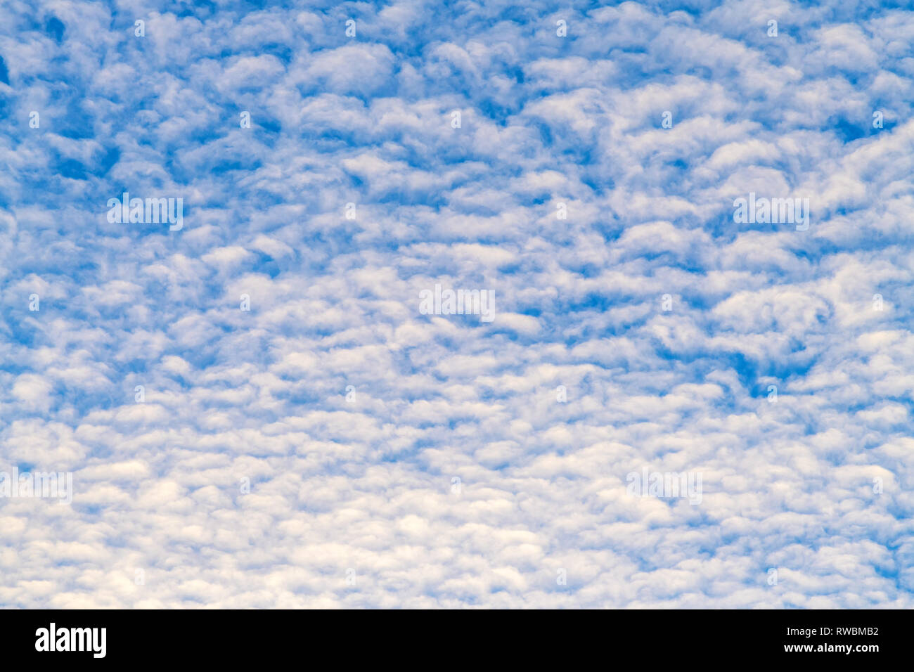 White fluffy clouds on blue sky as background - Stock Image