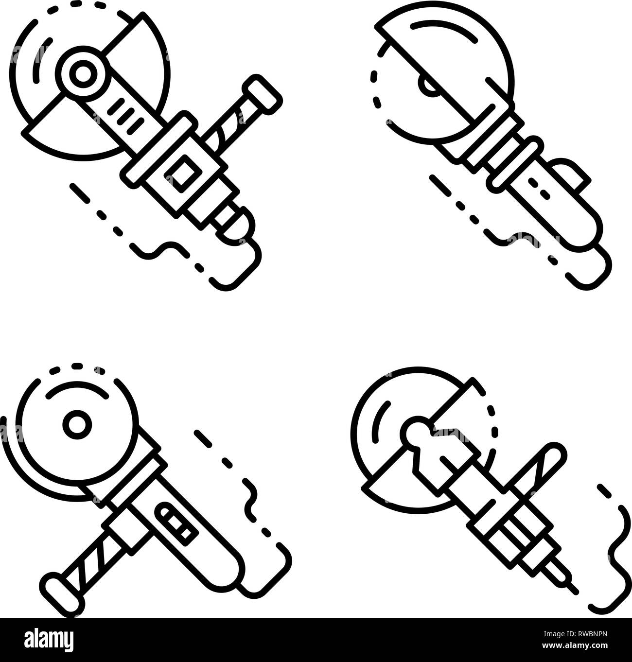 Angle grinder icons set, outline style - Stock Image