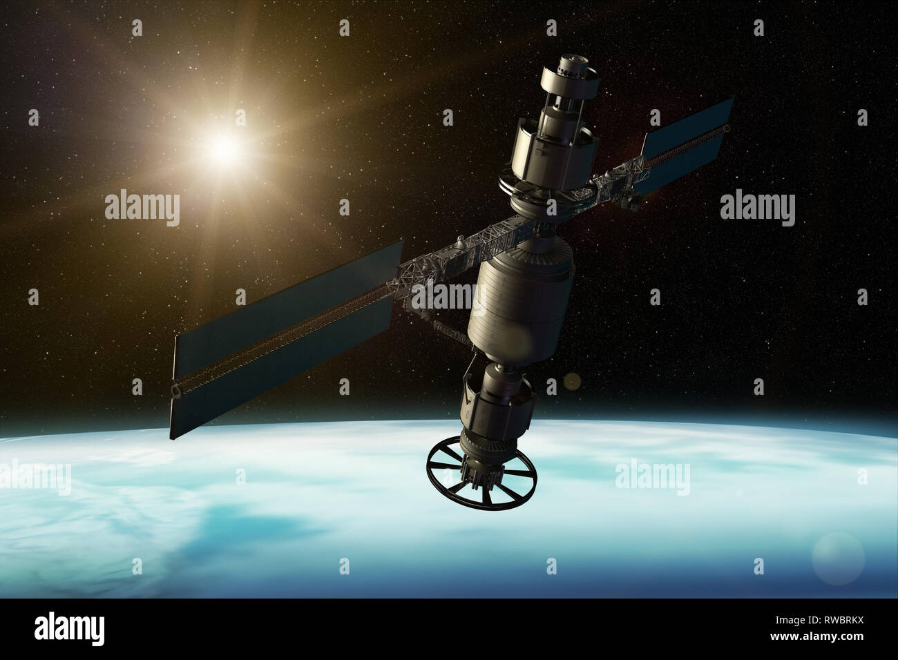 3D rendering of a satellite orbiting the earth - Stock Image