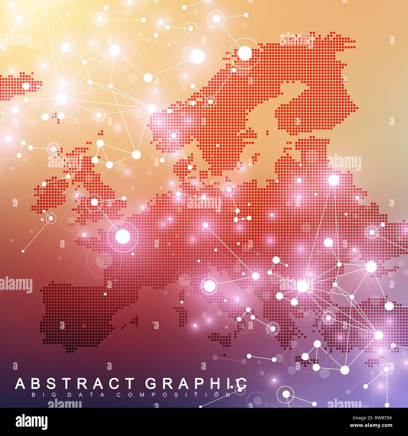 Geometric graphic background communication with Europe Map. Big data complex with compounds. Perspective backdrop. Minimal array. Digital data - Stock Image