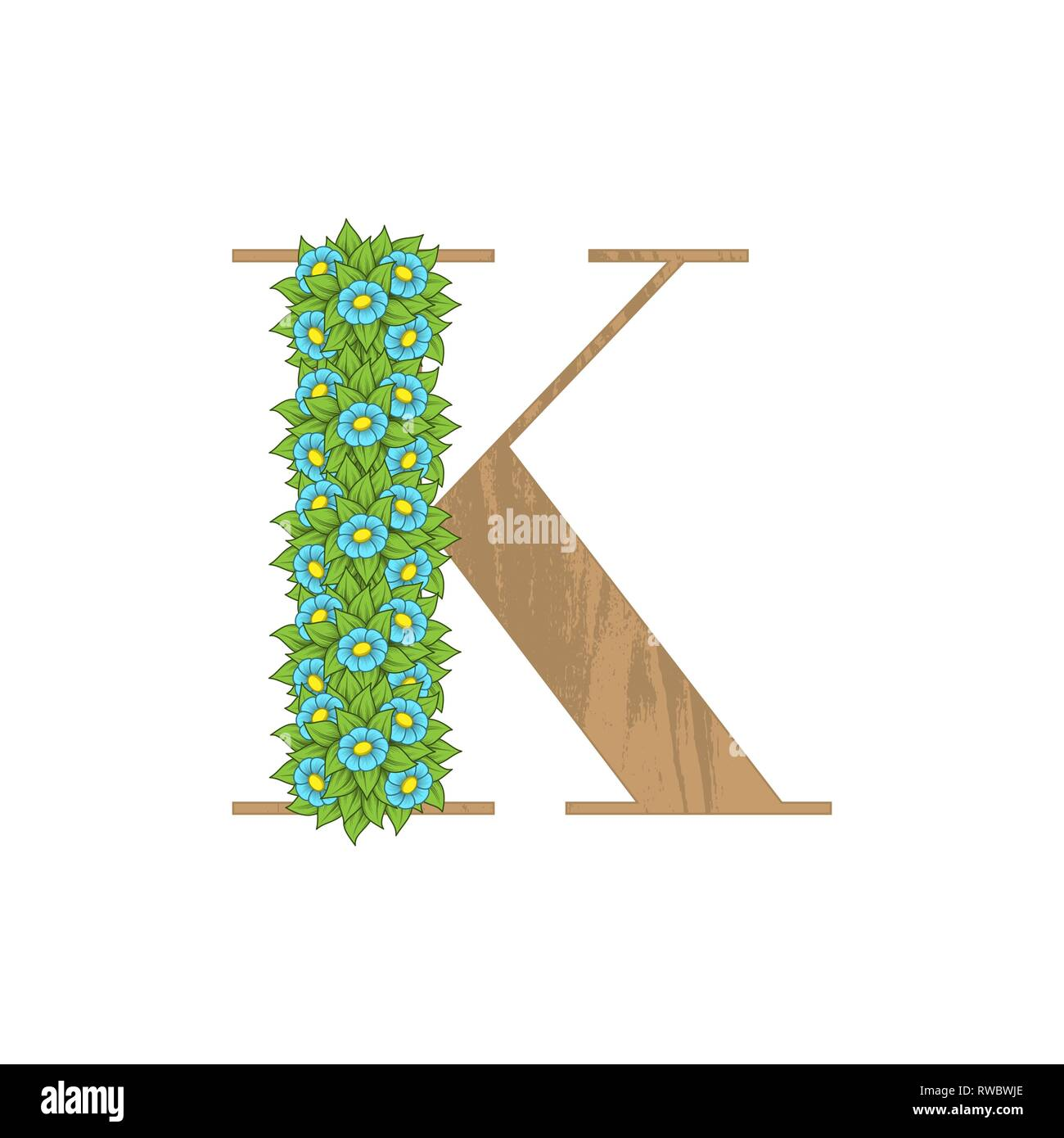 Letter K wooden texture with green leaves and flowers - Stock Image