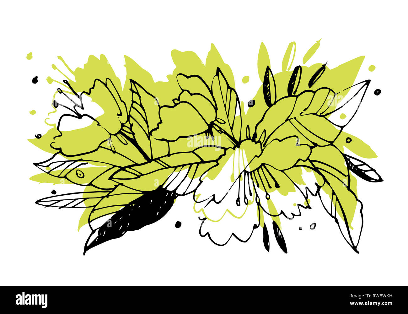 Creative Flower Graphic Illustration Textures Made With Black Ink