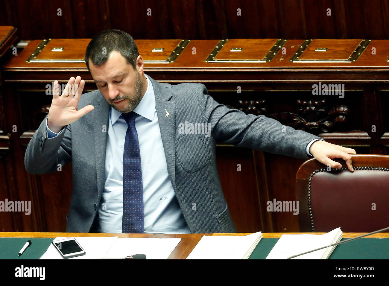 Rome, Italy. 05th Mar, 2019. Matteo Salvini Rome March 5th 2019. Lower Chamber. The minister of Internal Affairs during the discussion about the Chamber of Deputies Safety Decree, a law that will expand the right to legitimate self defence, proposed by his party, Lega Nord. Foto Samantha Zucchi Insidefoto Credit: insidefoto srl/Alamy Live News - Stock Image