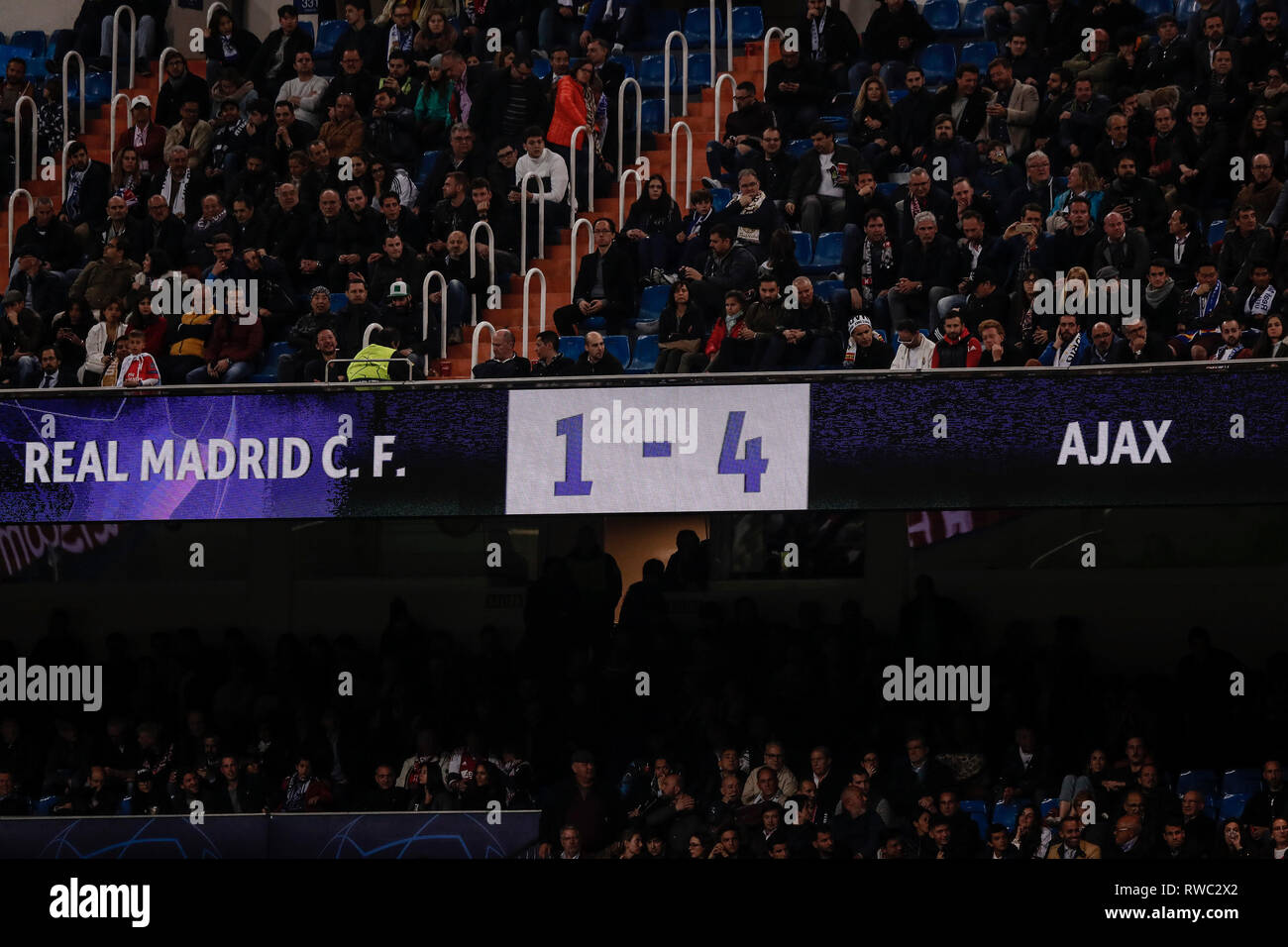 Santiago Bernabeu, Madrid, Spain. 5th Mar, 2019. UEFA Champions League football, round of 16, second leg, Real Madrid versus Ajax; The scoreboard shows the shock result Credit: Action Plus Sports/Alamy Live News - Stock Image