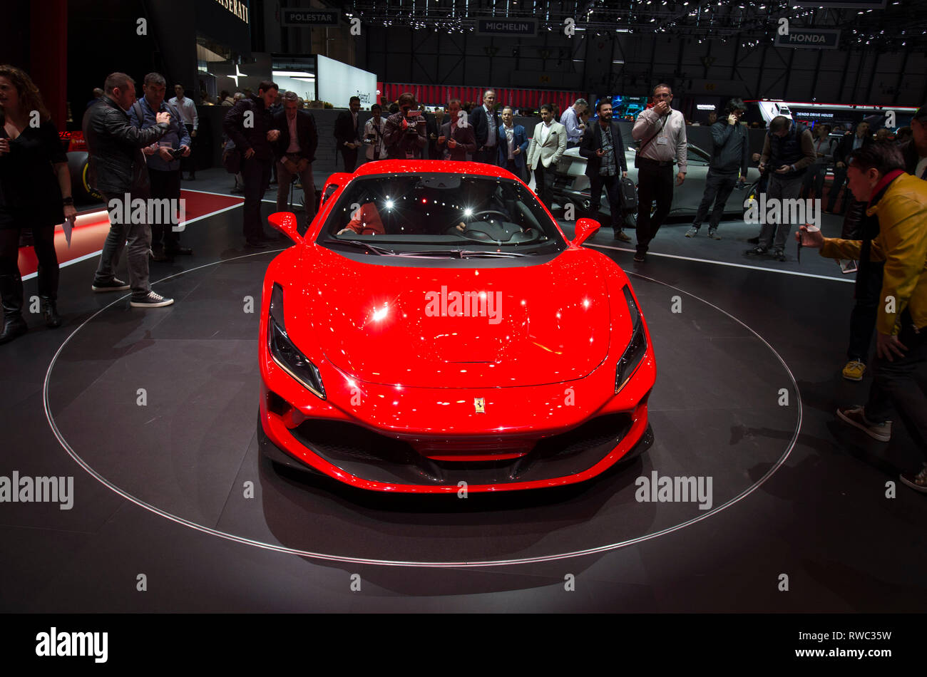 Geneva. 5th Mar, 2019. Photo taken on March 5, 2019 shows the new Ferrari F8 Tributo at the 89th Geneva International Motor Show in Geneva, Switzerland. The Motor Show will open to the public from March 7 to March 17. Credit: Xu Jinquan/Xinhua/Alamy Live News - Stock Image