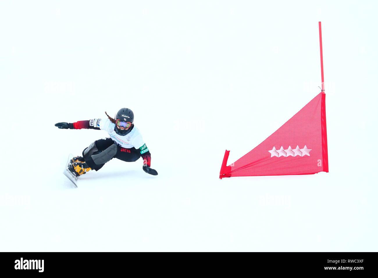 Sopka Cluster, Krasnoyarsk, Russia. 5th Mar, 2019. Asa Toyoda (JPN), MARCH 5, 2019 - Snowboarding : Women's Parallel Giant Slalom during 29th Winter Universiade Krasnoyarsk 2019 at Sopka Cluster, Krasnoyarsk, Russia. Credit: Naoki Nishimura/AFLO SPORT/Alamy Live News Stock Photo