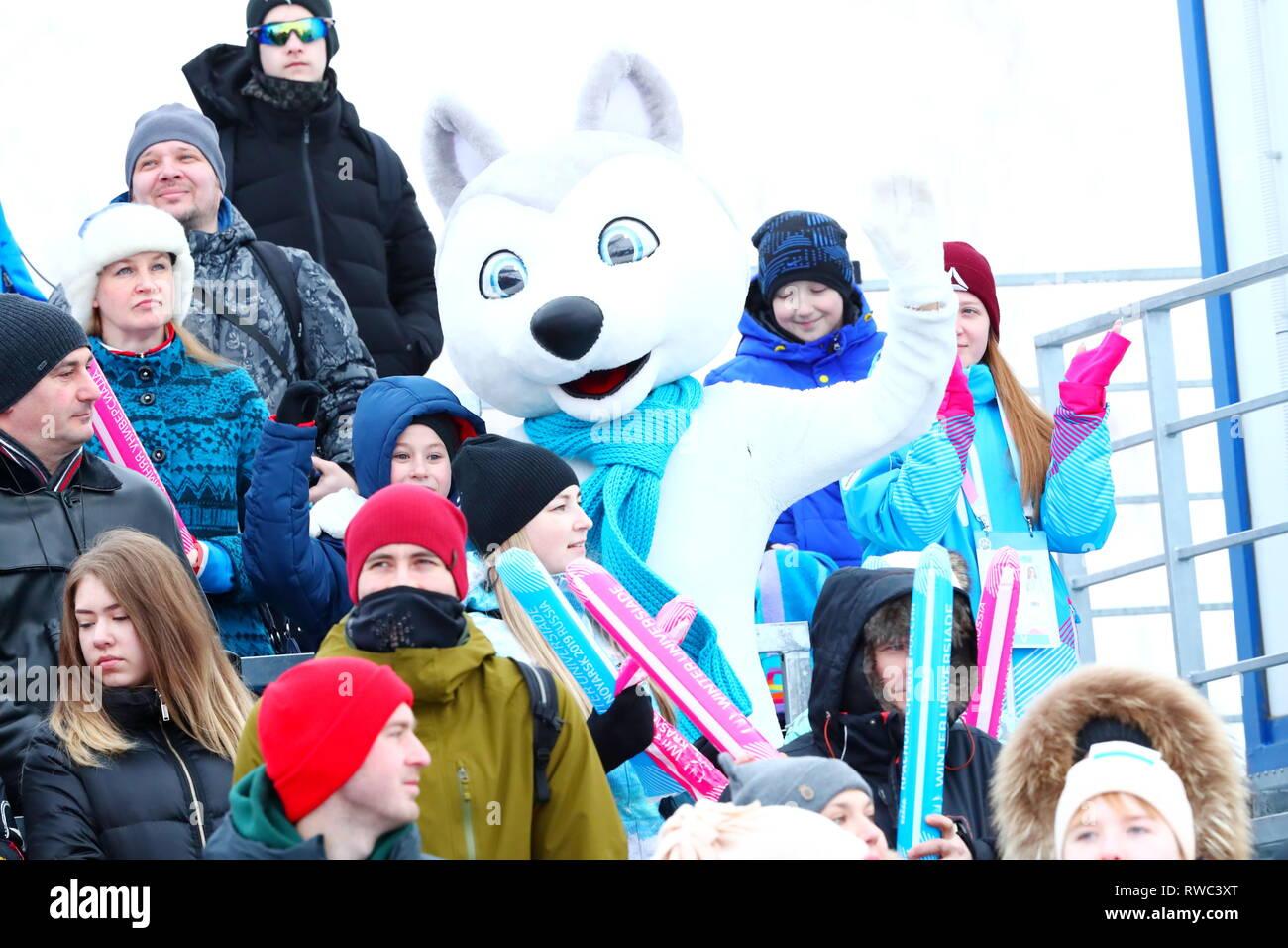 Sopka Cluster, Krasnoyarsk, Russia. 5th Mar, 2019. General view, MARCH 5, 2019 - Snowboarding : Parallel Giant Slalom during 29th Winter Universiade Krasnoyarsk 2019 at Sopka Cluster, Krasnoyarsk, Russia. Credit: Naoki Nishimura/AFLO SPORT/Alamy Live News Stock Photo