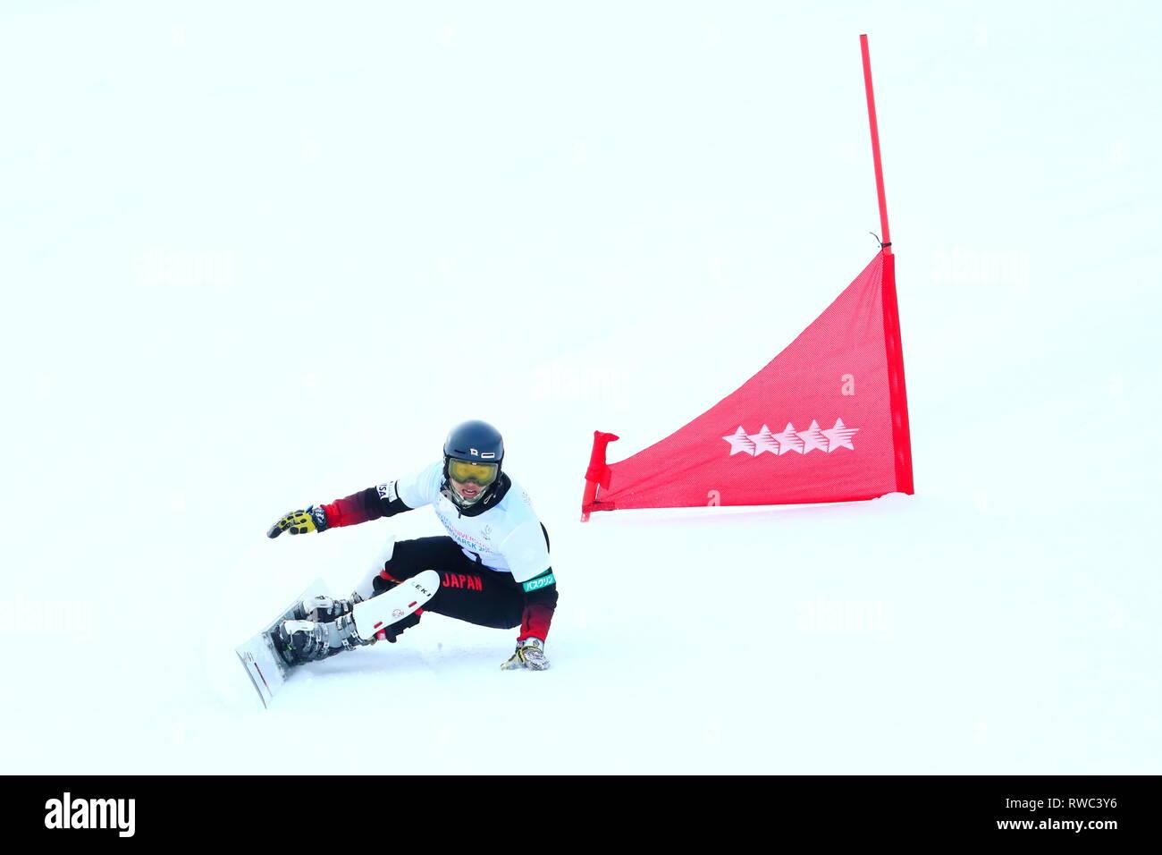Sopka Cluster, Krasnoyarsk, Russia. 5th Mar, 2019. Hiroya Toda (JPN), MARCH 5, 2019 - Snowboarding : Men's Parallel Giant Slalom during 29th Winter Universiade Krasnoyarsk 2019 at Sopka Cluster, Krasnoyarsk, Russia. Credit: Naoki Nishimura/AFLO SPORT/Alamy Live News Stock Photo
