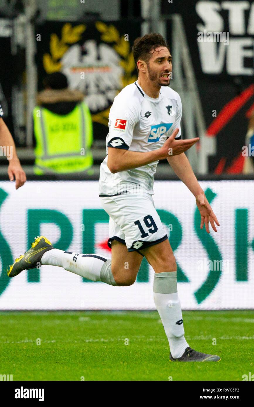 Frankfurt, Deutschland. 02nd Mar, 2019. Ishak BELFODIL (# 19, HOF) after his goal to 1: 2. Soccer, Eintracht Frankfurt (F) - TSG 1899 Hoffenheim (HOF) 3: 2, Bundesliga, 24.matchday, season 2018/2019, on 02/03/2019 in Frankfurt/COMMERZBANKARENA/Germany. Editorial Note: DFL regulations prohibit any use of photographs as image sequences and/or quasi-video. ¬ | usage worldwide Credit: dpa/Alamy Live News Stock Photo