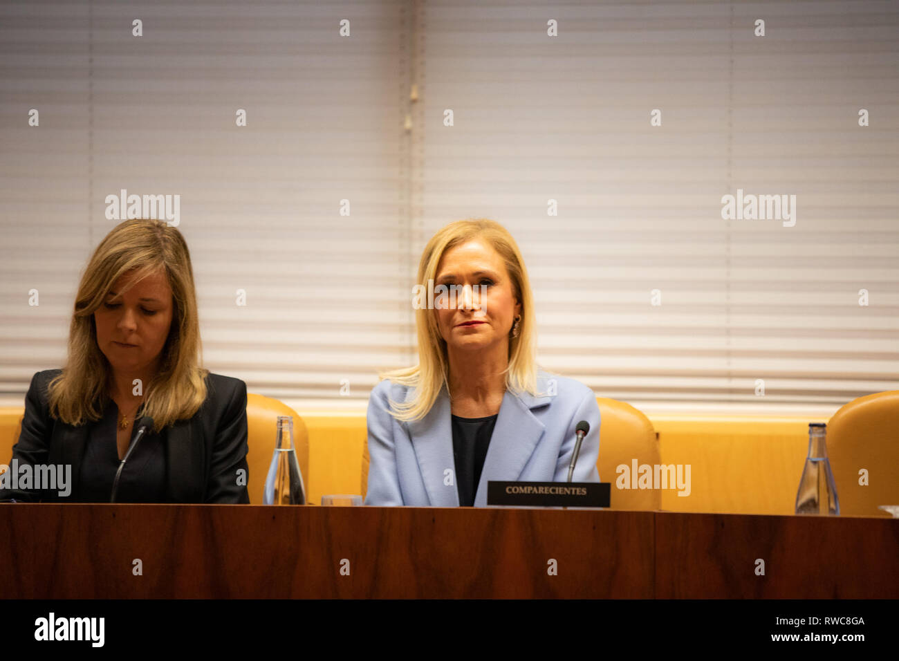 Madrid, Spain. 06th Mar, 2019. The former president of the Community of Madrid Cristina Cifuentes has attended this Wednesday in the research commission of universities of the Assembly of Madrid to appear in relation to the case Master, which is investigated for alleged crime of falsification of documents. Credit: Jesús Hellin/Alamy Live News - Stock Image