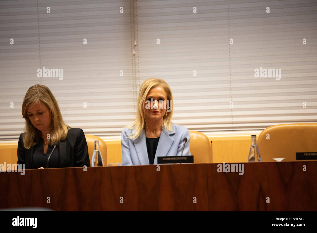 Madrid, Spain. 6th Mar, 2019. The former president of the Community of Madrid Cristina Cifuentes (R) with her lawyer(L) are seen attending the research commission of universities of the Assembly of Madrid to appear in relation to the case Master, which is investigated for alleged crime of falsification of documents. Credit: Jesus Hellin/SOPA Images/ZUMA Wire/Alamy Live News - Stock Image