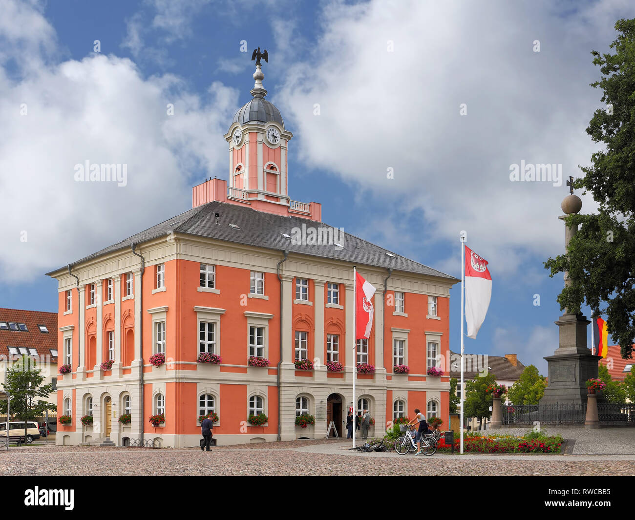 The Baroque town hall of Templin, a small town in the Uckermark in GErmany - Stock Image