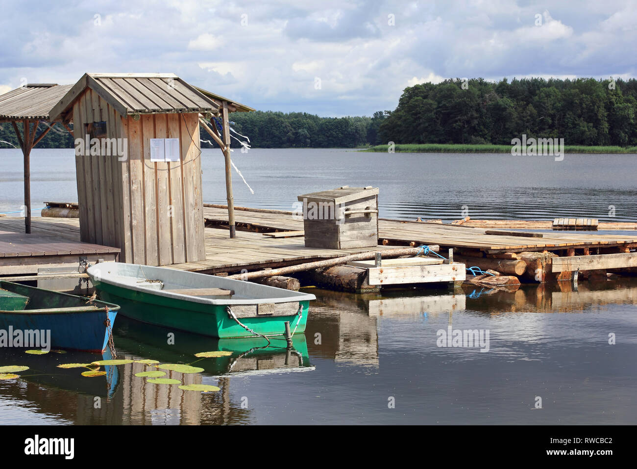 Rafts on the pier in Lychen in the Uckermark in Germany - Stock Image