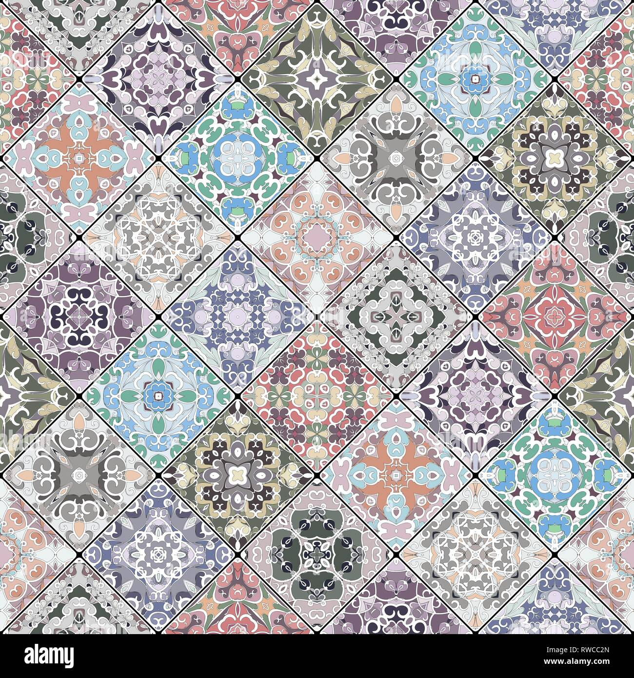 Set of seamless abstract patterns  Colorful tiles background in