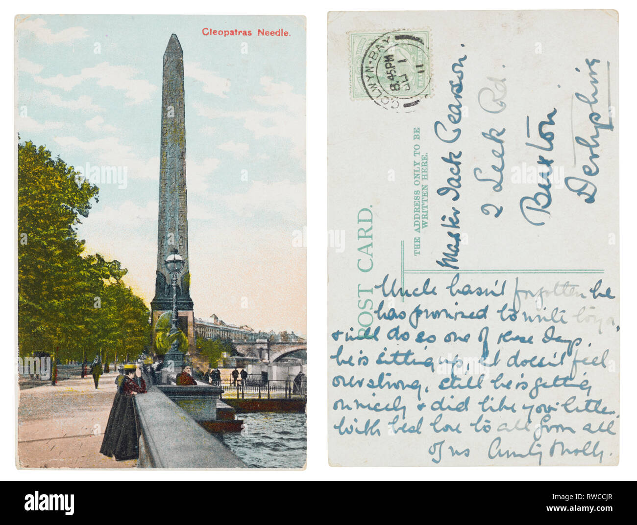 Postcard of Cleopatras Needle posted from Colwyn Bay to Buxton in 1911 - Stock Image