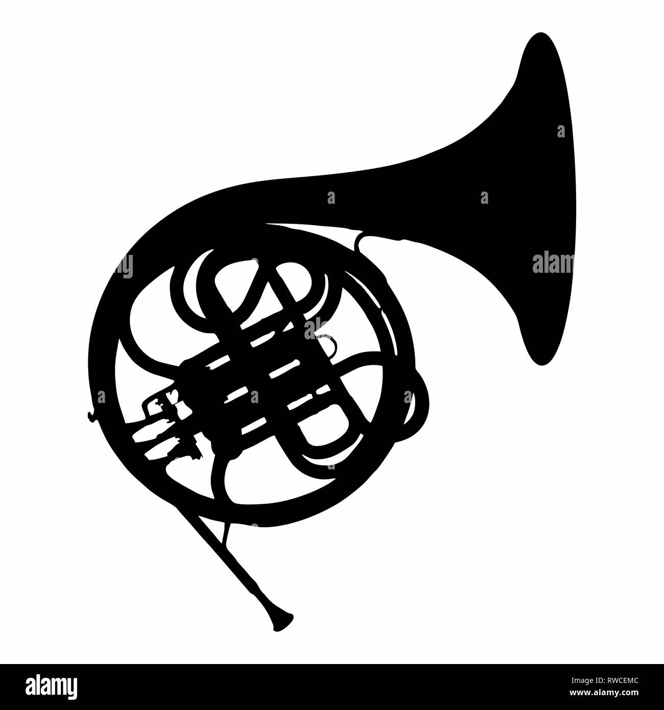 French Horn Icon - Stock Image