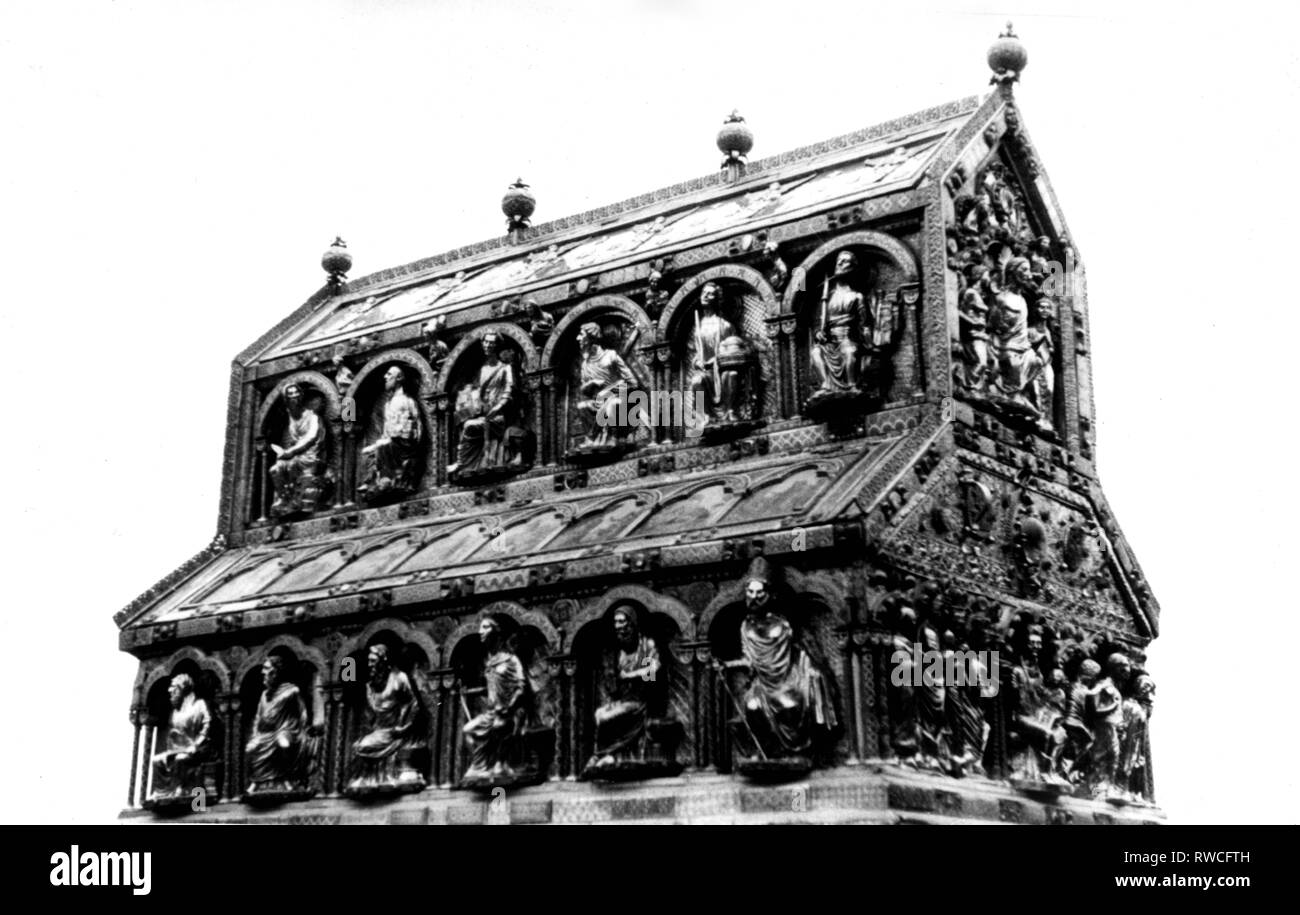 Magi, biblical figures, Shrine of the Three Kings, circa 1181 - 1220, Nicholas of Verdun, face and Solomon side, before the restauration of 1961, Cologne Cathedral, Additional-Rights-Clearance-Info-Not-Available - Stock Image