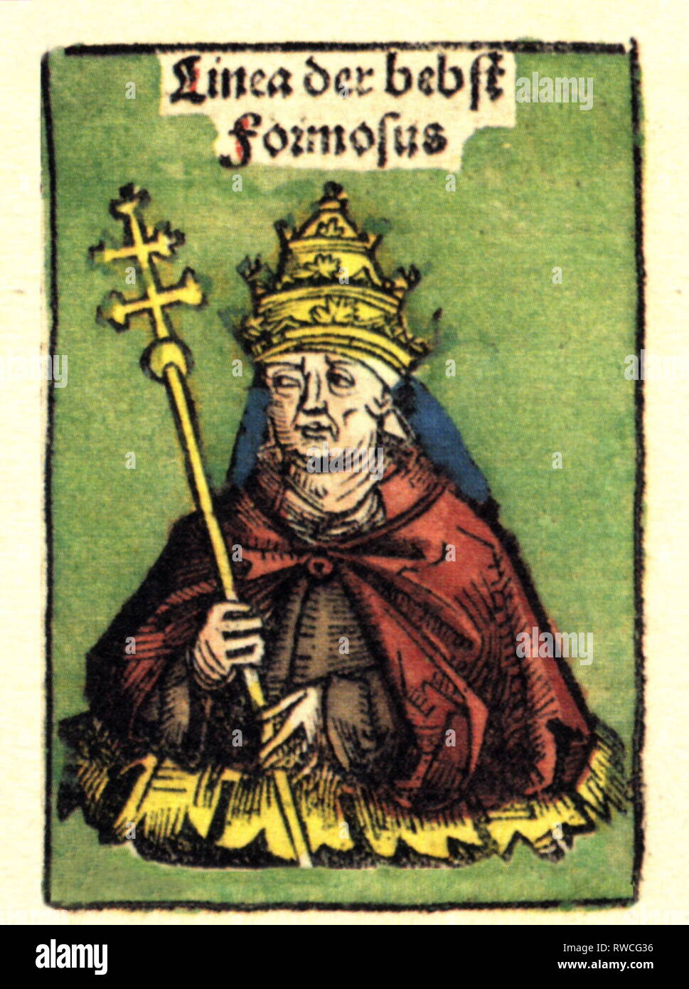 Formosus, circa 816 - 4.4.896, Pope 3.10.891 - 4.4.896, half-length, woodcut by Michael Wolgemut or Wilhelm Pleydenwurff to the chronicle of Hartmann Schedel, Nuremberg, 1493, Artist's Copyright has not to be cleared - Stock Image