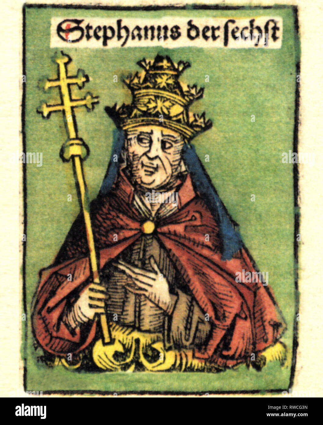 Stephen VI (VII), + August 897, Pope May 896 - August 897, half-length, woodcut by Michael Wolgemut or Wilhelm Pleydenwurff to the chronicle of Hartmann Schedel, Nuremberg, 1493, Artist's Copyright has not to be cleared - Stock Image