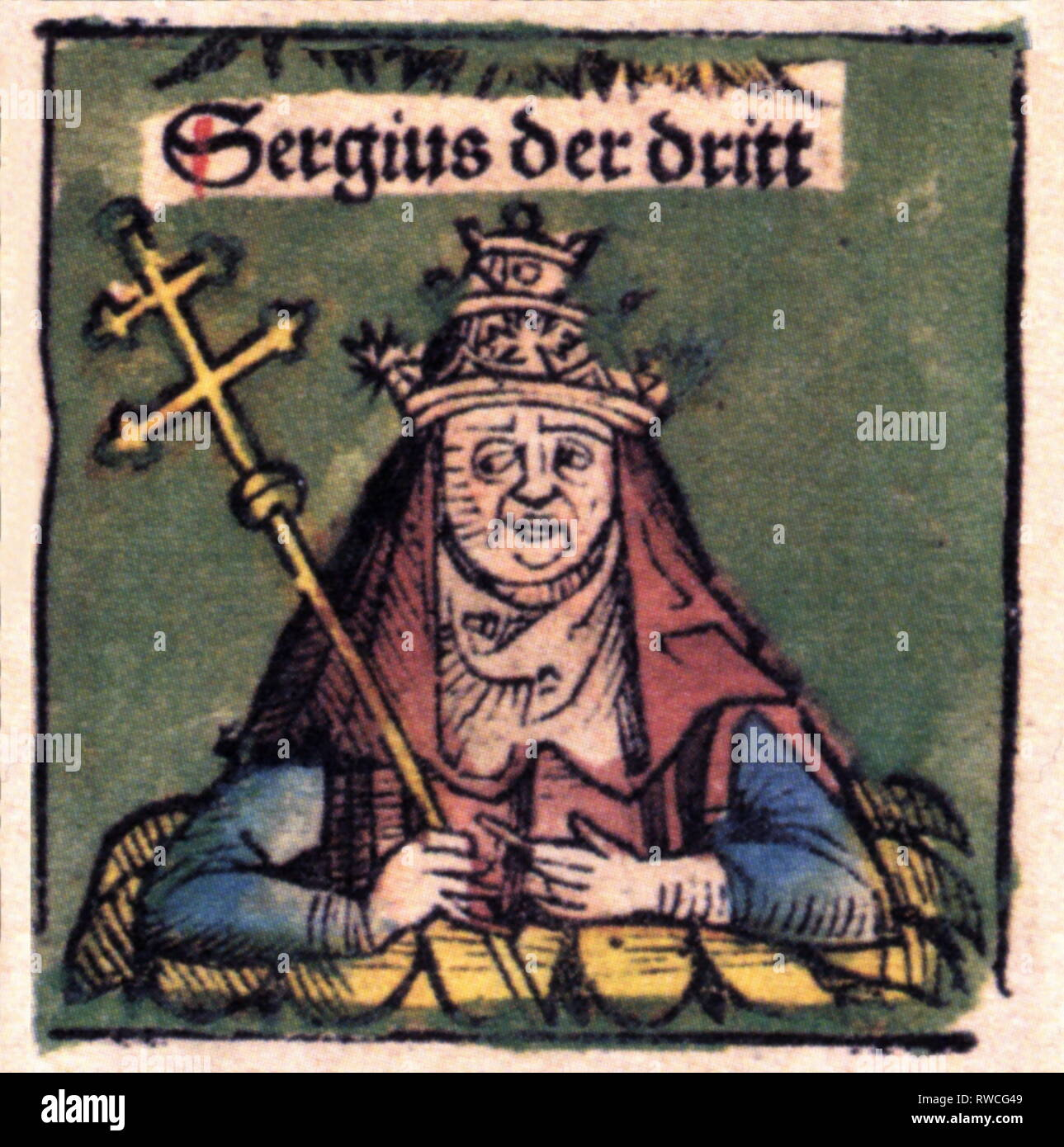 Sergius III, + 14.4.911, Antipope 29.1.904 - 14.4.911, half-length, woodcut by Michael Wolgemut or Wilhelm Pleydenwurff to the chronicle of Hartmann Schedel, Nuremberg, 1493, Artist's Copyright has not to be cleared - Stock Image