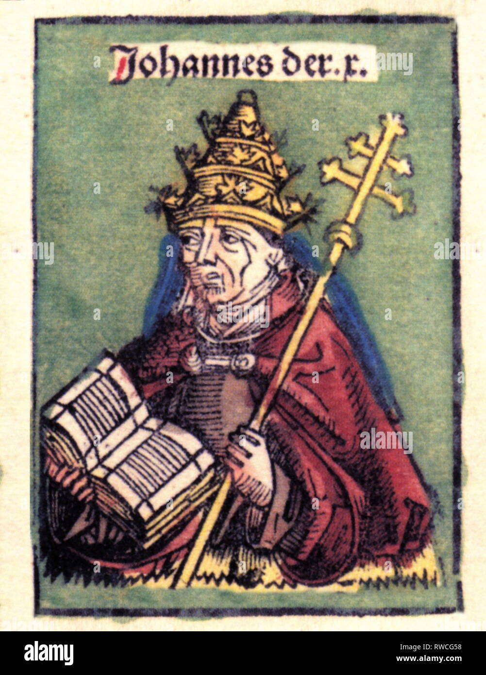 John X, 890 - June 928, Pope March 914 - May 928, half-length, woodcut by Michael Wolgemut or Wilhelm Pleydenwurff to the chronicle of Hartmann Schedel, Nuremberg, 1493, Artist's Copyright has not to be cleared - Stock Image