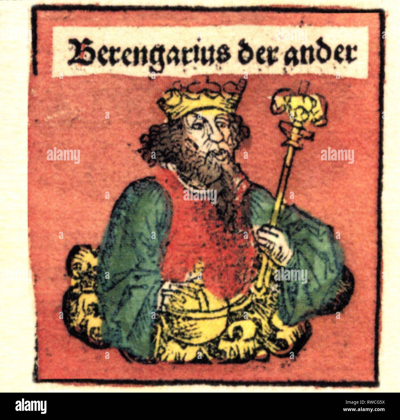 Berengar II, circa 900 - 6.8.966, King of Italy 950 - 961, half-length, woodcut by Michael Wolgemut or Wilhelm Pleydenwurff to the chronicle of Hartmann Schedel, Nuremberg, 1493, Artist's Copyright has not to be cleared - Stock Image