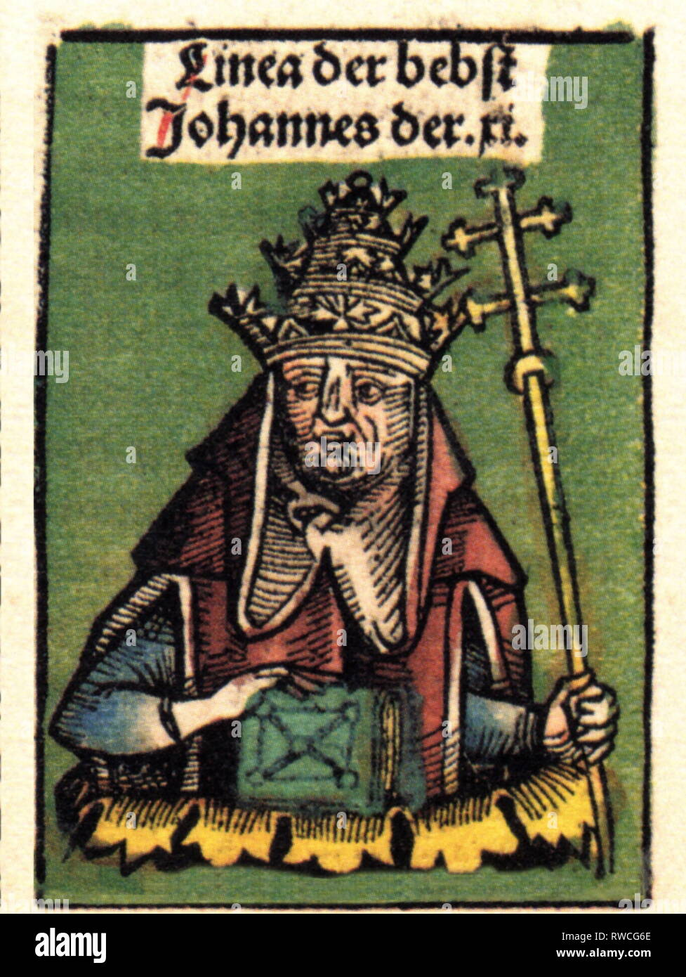 Johannes XI, + December 935, Pope 931 - 935, half-length, woodcut by Michael Wolgemut or Wilhelm Pleydenwurff to the chronicle of Hartmann Schedel, Nuremberg, 1493, Artist's Copyright has not to be cleared - Stock Image