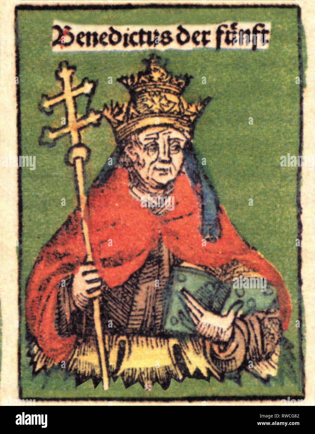 Benedict V, + 4.7.966, Pope 22.5. - 23.6.964, half-length, woodcut by Michael Wolgemut or Wilhelm Pleydenwurff to the chronicle of the Hartmann Schedel, Nuremberg, 1493, Artist's Copyright has not to be cleared - Stock Image