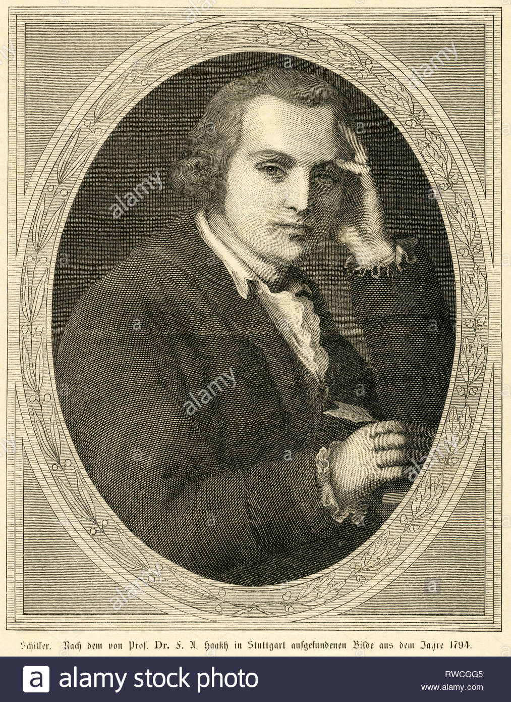 Germany,  Baden-Württemberg,  Marbach, Friedrich Schiller, German poet, wood engraving printed in a newspaper of the 1860th? after an painting, founded by Prof. Dr. F. A. Haakh in Stuttgart, from the year 1794., Artist's Copyright must also be cleared - Stock Image