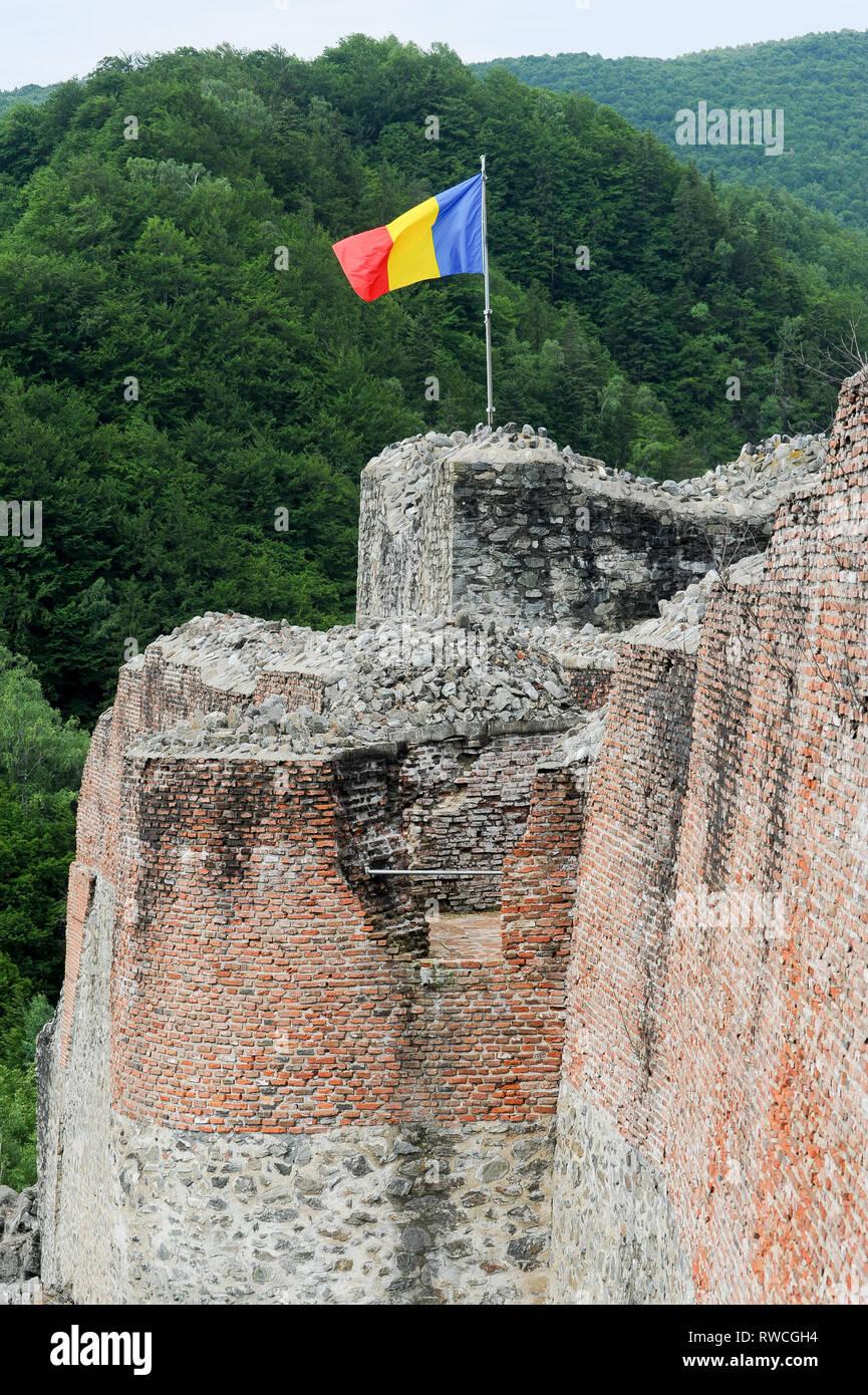 Gothic Cetatea Poenari (Poenari Castle) in Poenari, Romania. July 19th 2009, built in XIII century and rebuilt in XV century by Vlad the Impaler voivo - Stock Image