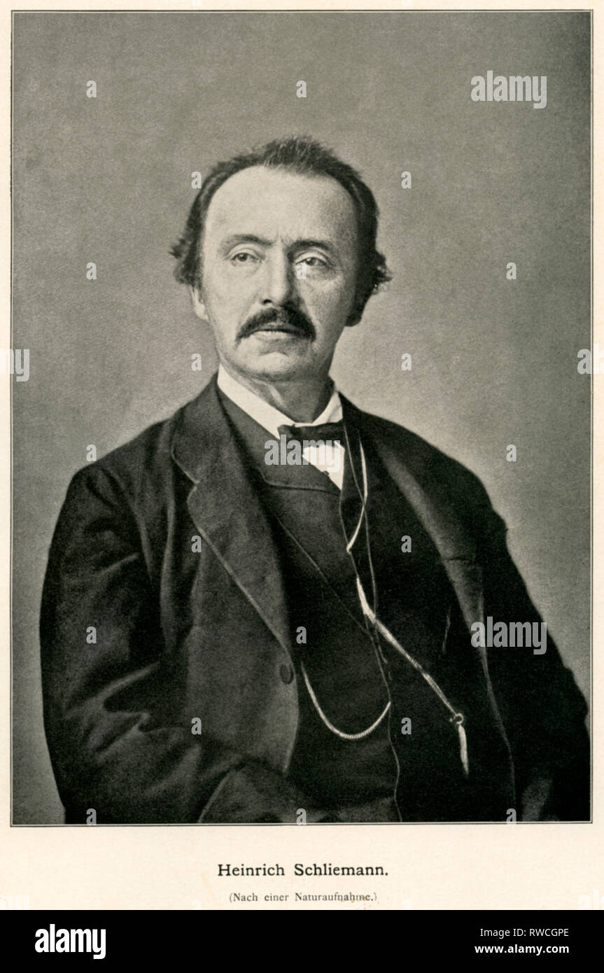 Germany, Western Pomerania, Neubukow, Heinrich Schliemann, German businessman and archaeologist, photo, printed 1898., Additional-Rights-Clearance-Info-Not-Available - Stock Image