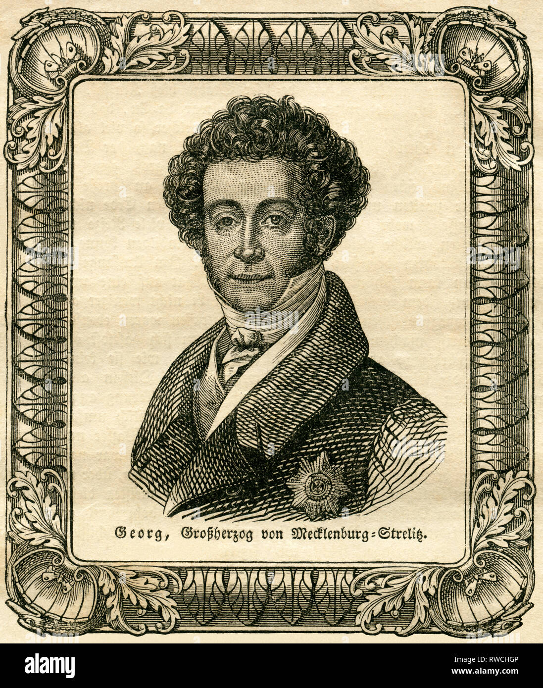 George, Grand Duke of Mecklenburg-Strelitz, illustration from the magazine ' Das Pfennig-Magazin', No. 223,  published 08.07.1837., Additional-Rights-Clearance-Info-Not-Available - Stock Image