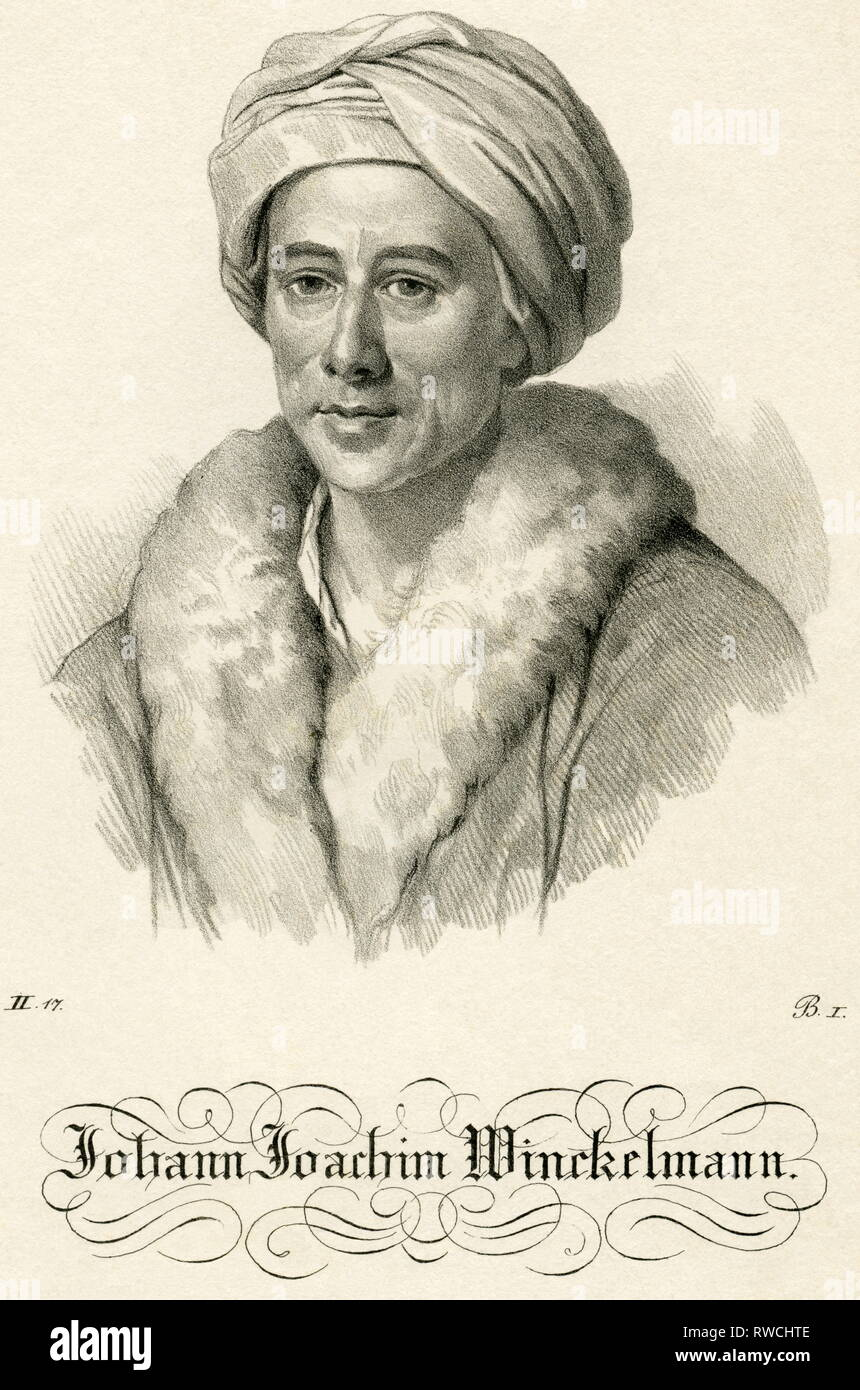 Germany, Saxony-Anhalt, Johann Joachim Winckelmann, lithography, around 1840th, Additional-Rights-Clearance-Info-Not-Available - Stock Image