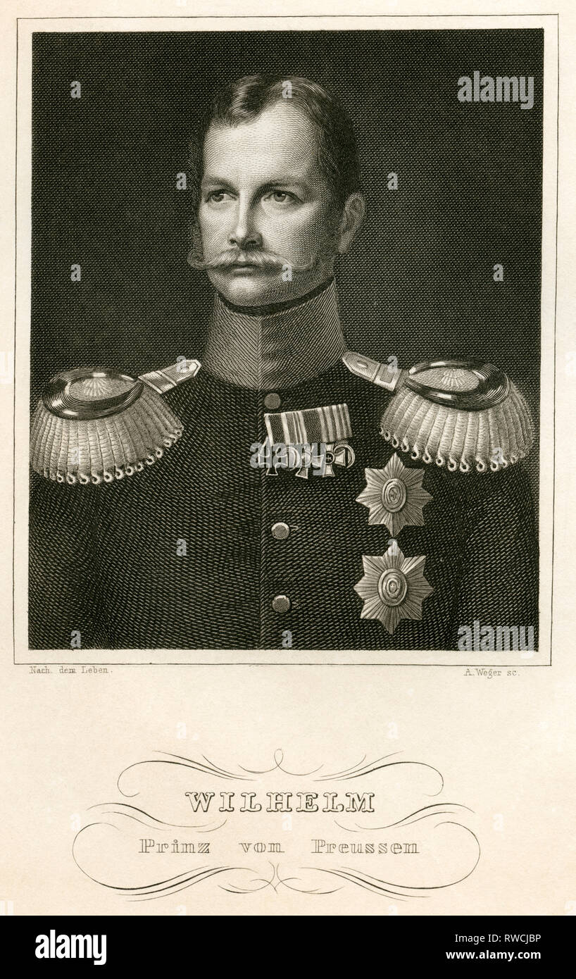 William Frederick Ludwig Prince of Prussia, later Wilhelm I German Emperor, steel engraving by A. Weger, around 1840., Artist's Copyright has not to be cleared - Stock Image