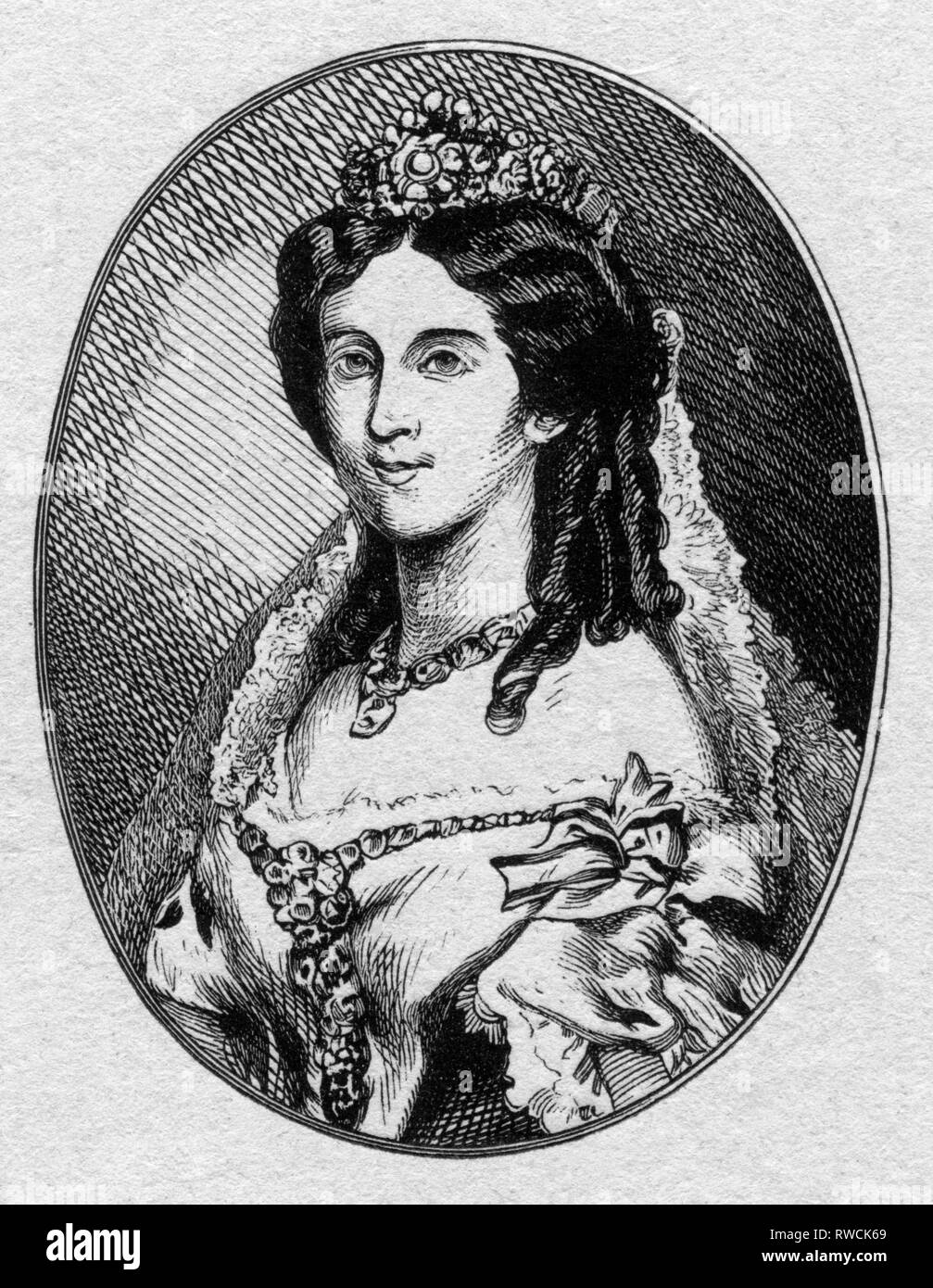 Germany, Augusta, Empress of Germany, Queen of Prussia, born as Augusta of Saxe-Weimar-Eisenach, steel engraving from around 1840?, from a book., Artist's Copyright has not to be cleared - Stock Image
