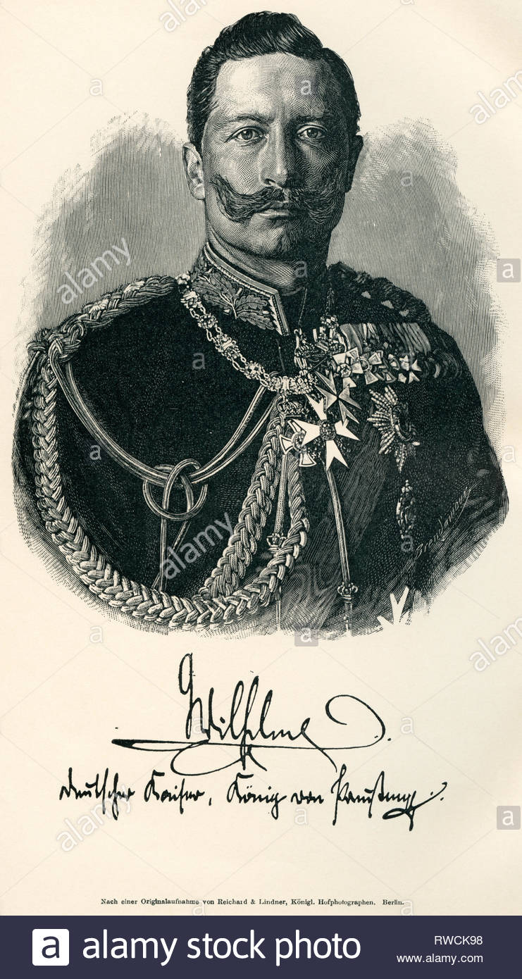 Germany, Berlin, Eperor William II, image from: 'Germany / the armed forces by A. von Boguslawski, the navy by R. Aschenborn', published by Schall and Grund, Berlin, 1896., Artist's Copyright must also be cleared - Stock Image