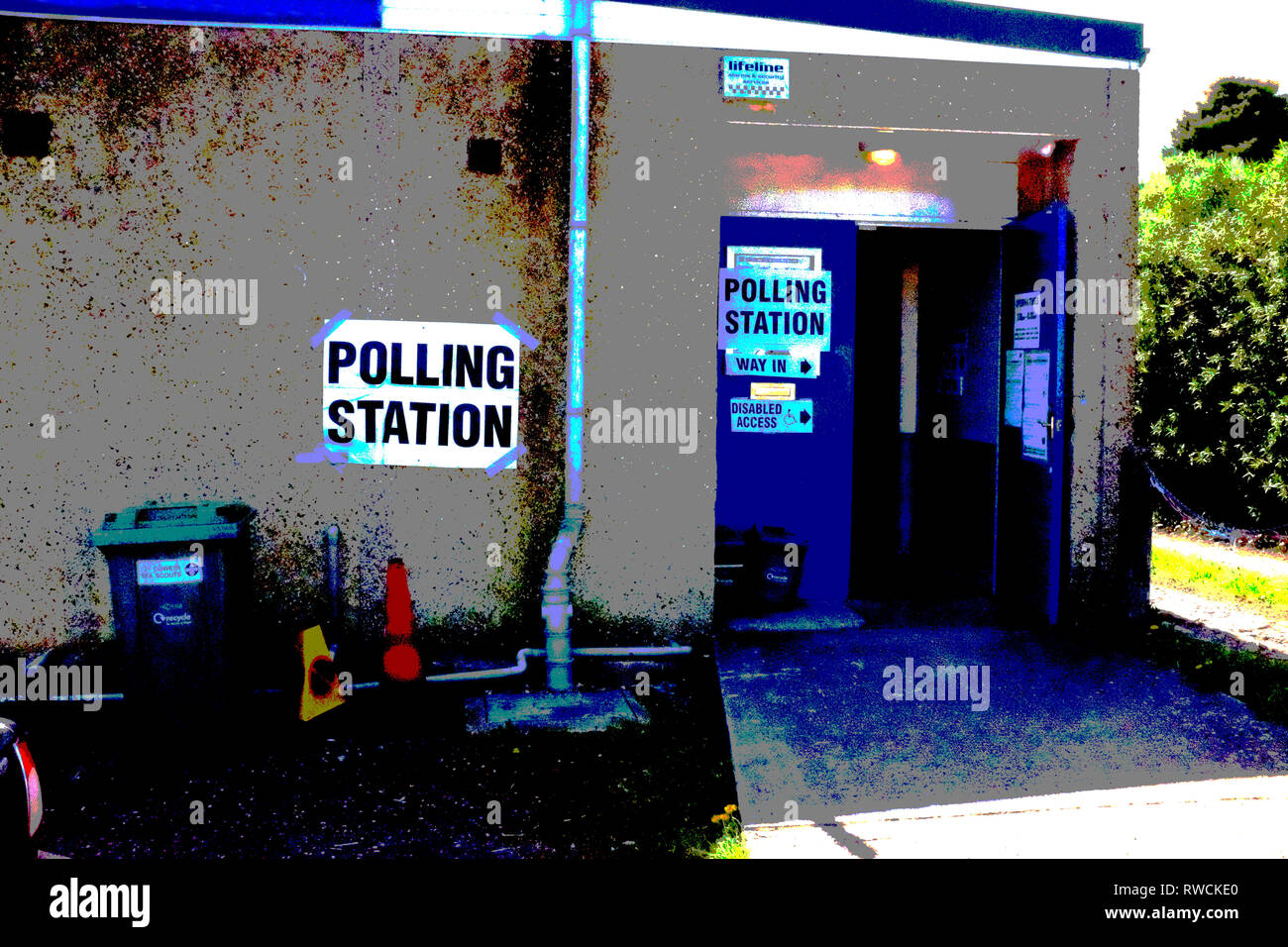 posterised,polling,station,scout,hut,cowes,Isle of Wight, England, UK, - Stock Image
