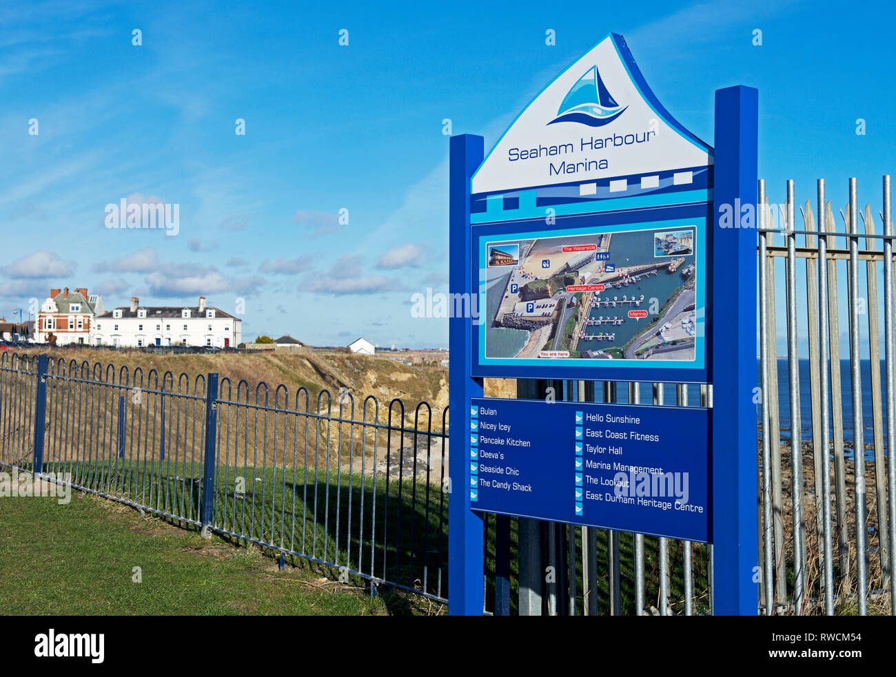 Sign for Seaham Marina, Seaham, Co Durham, England UK - Stock Image